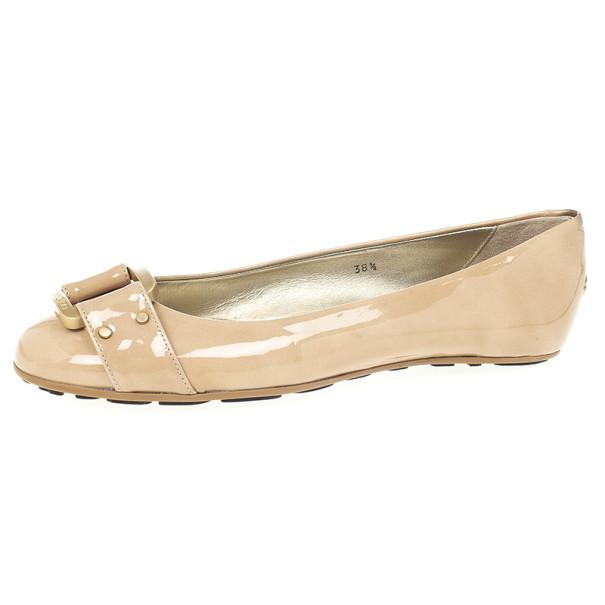 Jimmy Choo Nude Patent Morse Ballet Flats Size 38.5