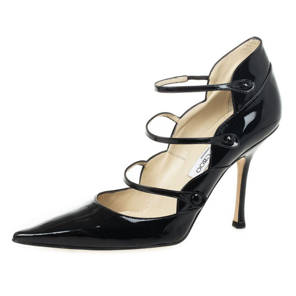 Buy Jimmy Choo Black Patent Pointed Toe Multi Strap Mary Jane Pumps ...