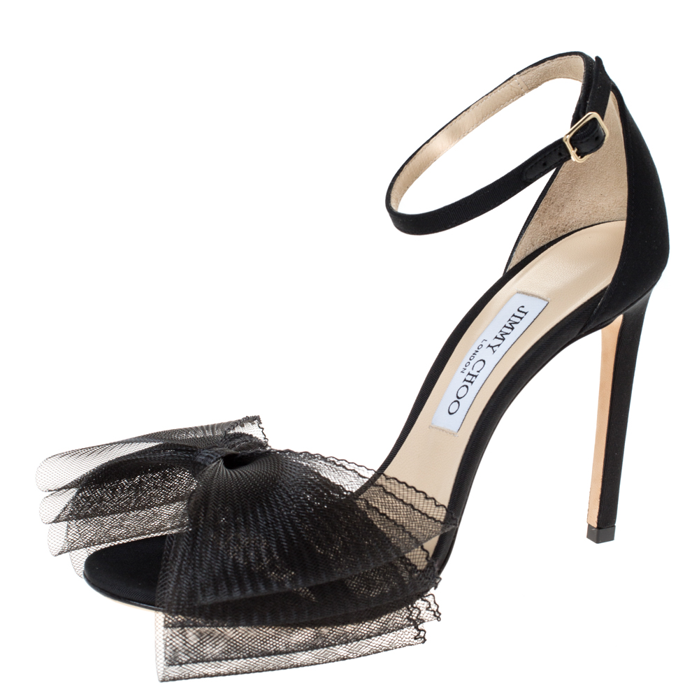 Jimmy Choo Black Mesh and Fabric Aveline Sandals Size 39