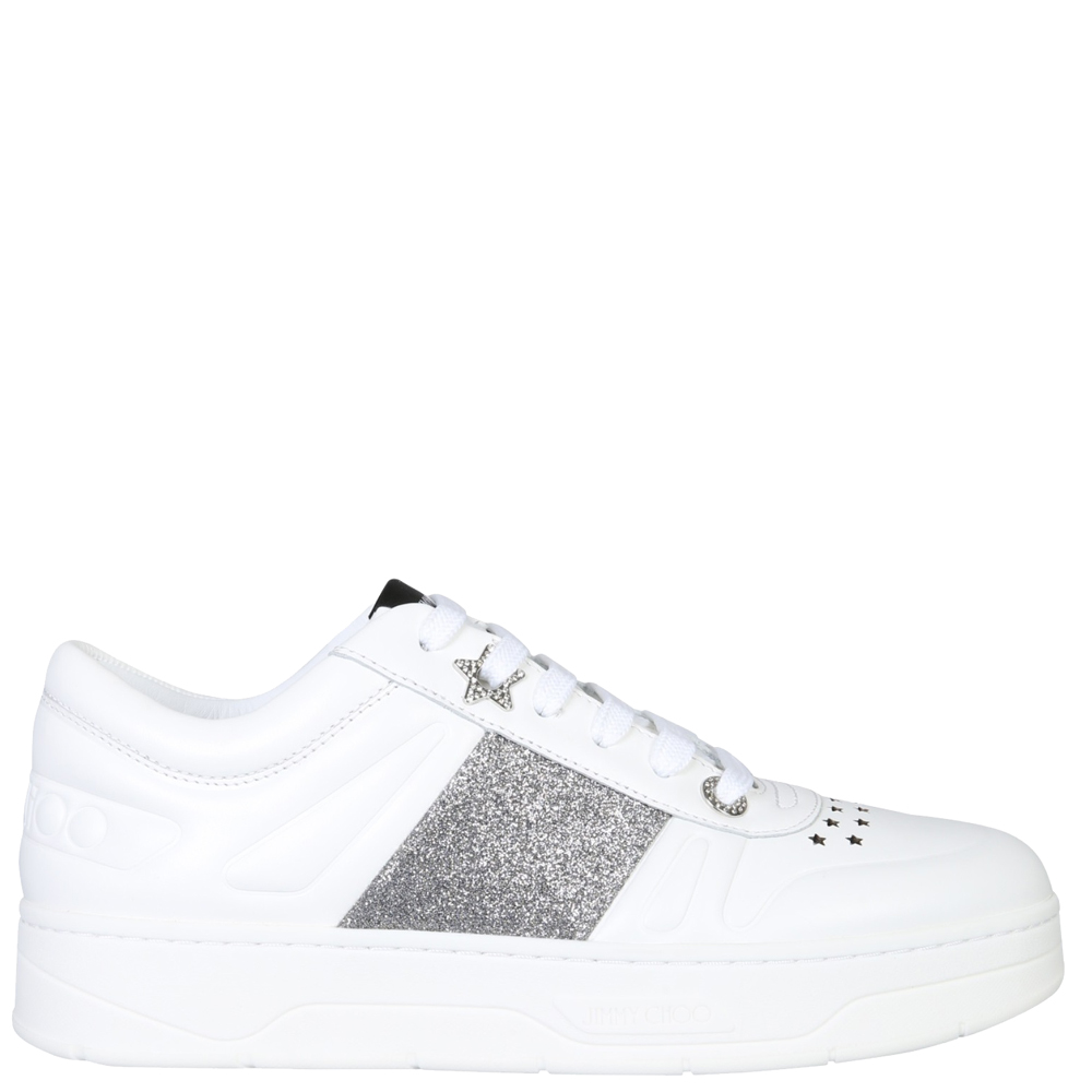 "Jimmy Choo White Leather ""Hawai"" Sneakers Size EU 39"