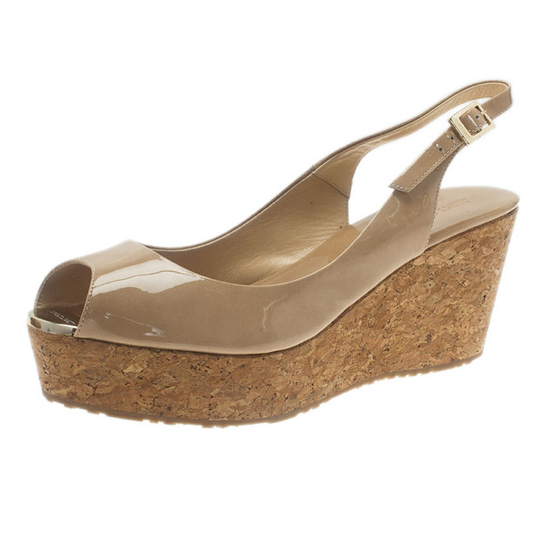 b6069a1e5d3d Buy Jimmy Choo Nude Patent Praise Cork Slingback Wedges Size 40 6264 at  best price
