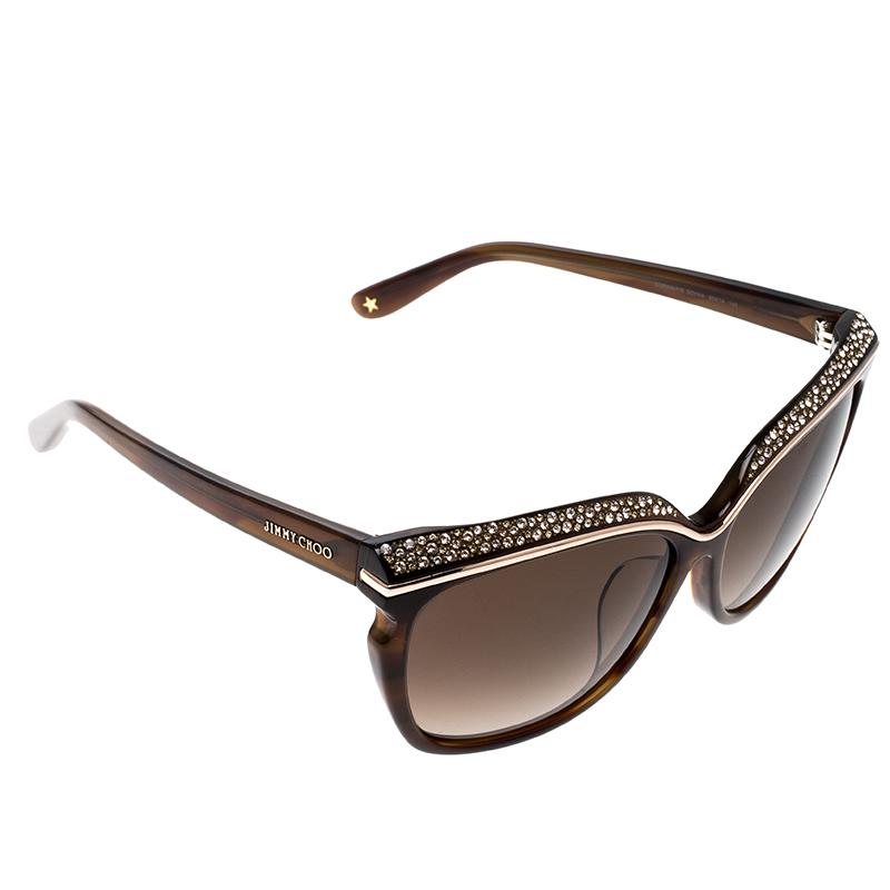 0efb1ef1bf02 Buy Jimmy Choo Brown  Brown Gradient Embellished Sophia Cat Eye ...