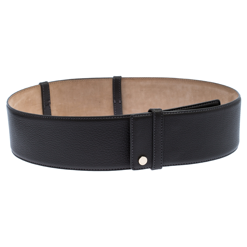 Jimmy Choo Dark Grey Leather BLY Waist Belt 103CM