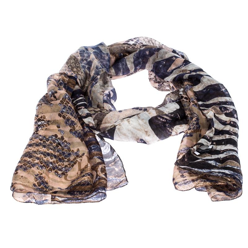 Jimmy Choo Muticolor Snakeskin Printed Silk Scarf