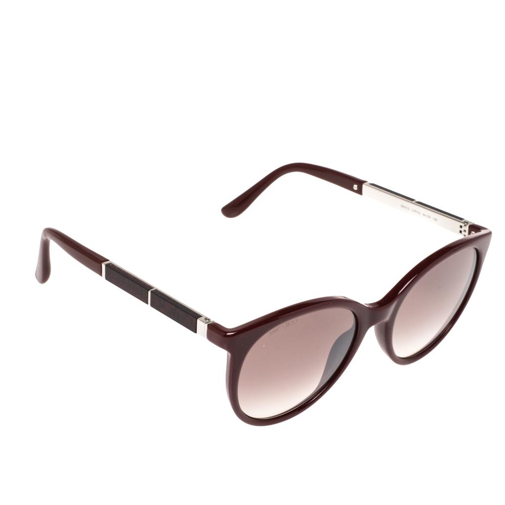 Pre-owned Jimmy Choo Burgundy Opal /burgundy Gradient Erie/s Round Sunglasses