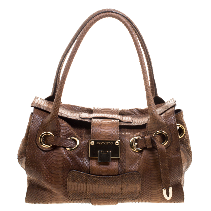 2271b663989a ... Jimmy Choo Brown Python Embossed Leather Rosalie Top Handle Bag.  nextprev. prevnext