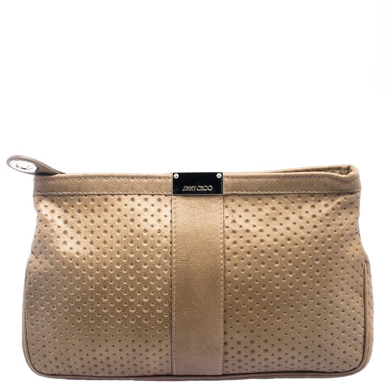 Купить со скидкой Jimmy Choo Brown Perforated Leather Zulu Clutch