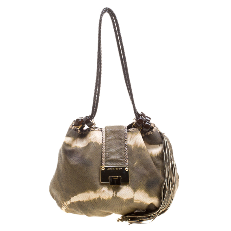 ... Jimmy Choo Green White Ombre Python Embossed Leather   Python Trim Hobo.  nextprev. prevnext fdfcd59bc73a1