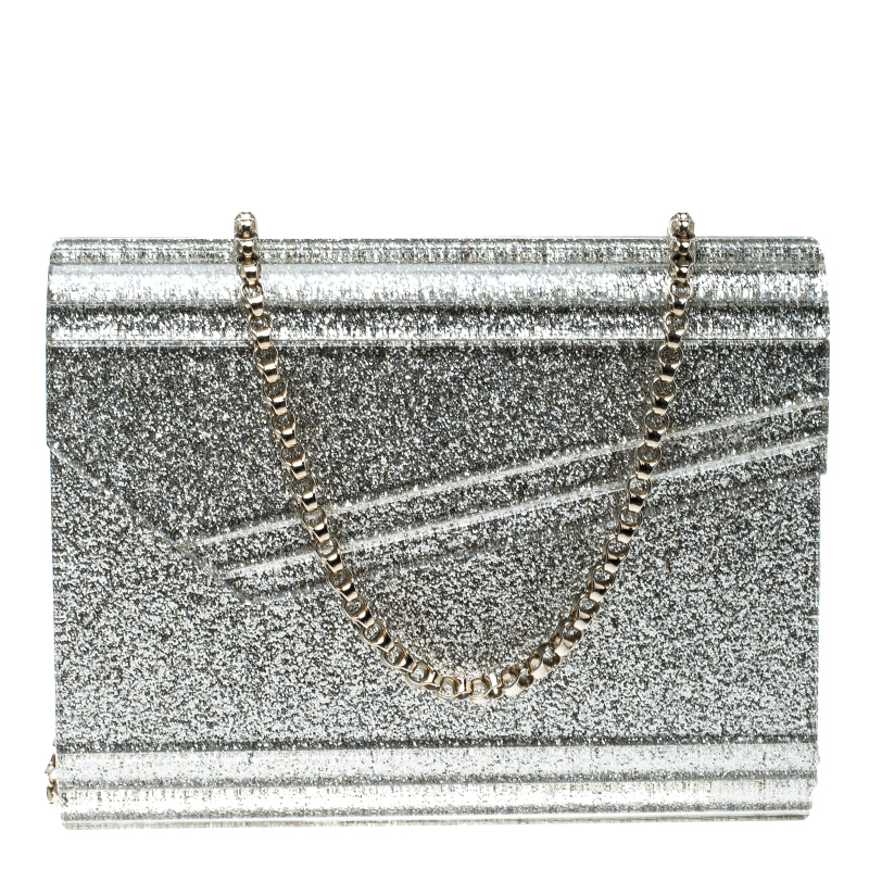 top-rated original top-rated official diverse styles Jimmy Choo Silver Glitter Acrylic Candy Clutch Bag