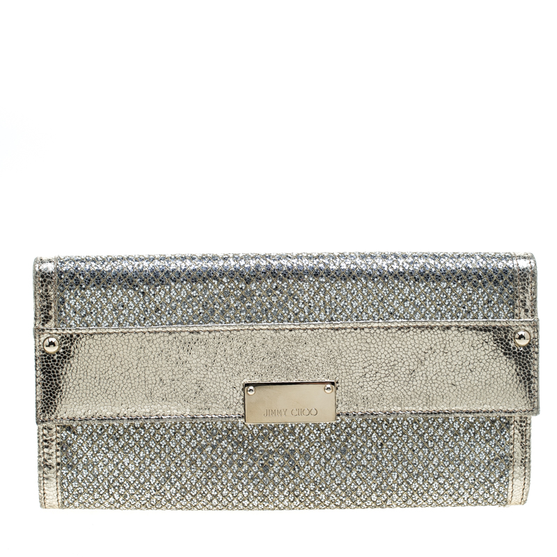Jimmy Choo Gold Metallic Leather and Glitter Reese Continental Clutch
