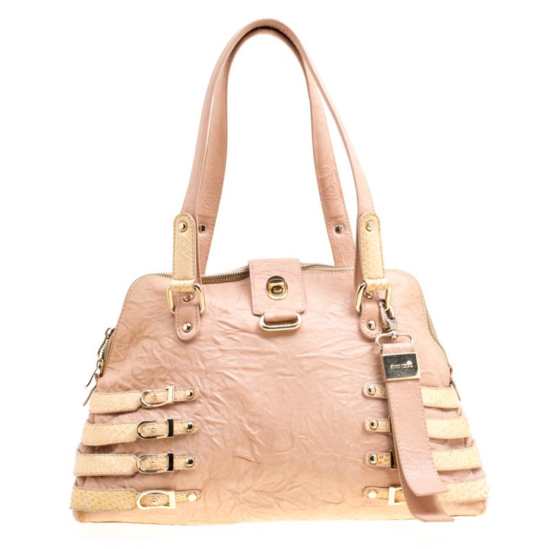 9537fb9cbc8 Buy Jimmy Choo Peach/Beige Leather and Python Trim Blythe Satchel ...