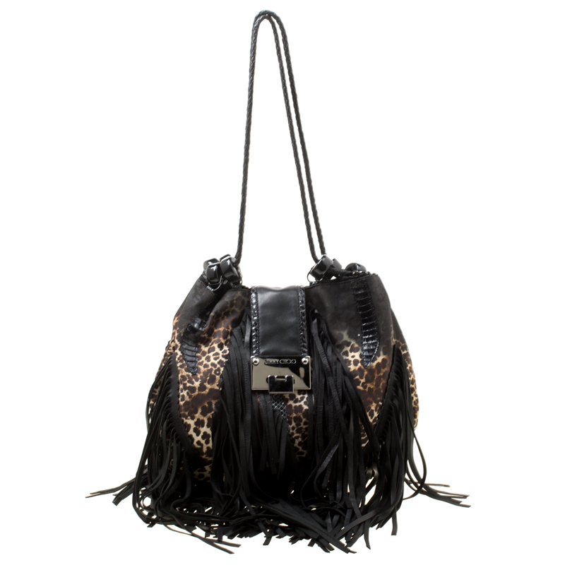 95af18d27ef ... Jimmy Choo Black/Beige Leopard Print Leather and Snakeskin Fringe  Drawstring Bag. nextprev. prevnext