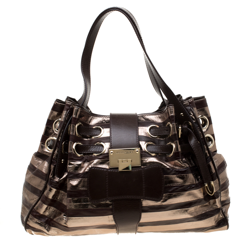 1981611e02 Buy Jimmy Choo Brown/Gold Eel Leather Riki Tote 183899 at best price ...