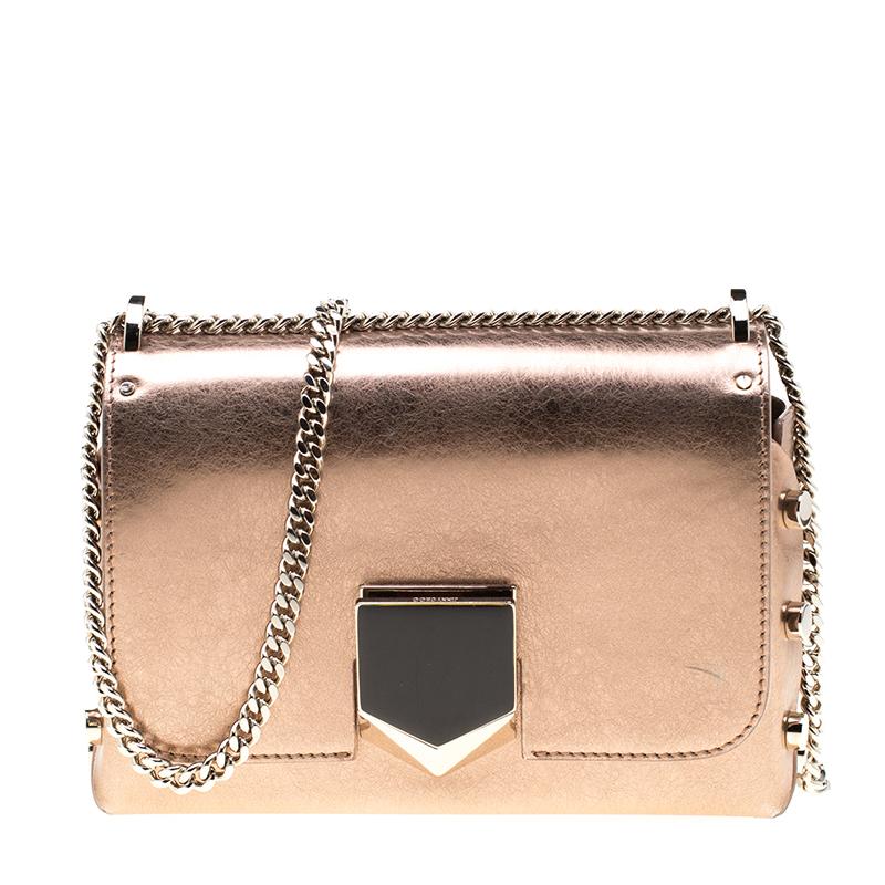 Jimmy Choo Rose Gold Metallic Leather Pee Lockett Crossbody Bag