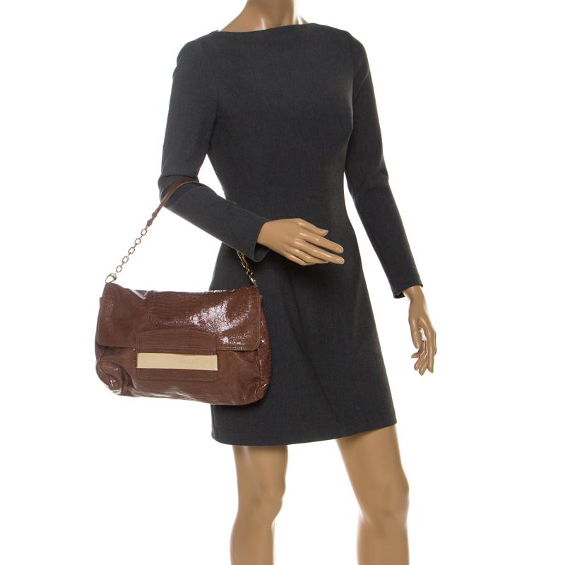 Jimmy Choo Brown Lizard Embossed Leather Carolina Shoulder Bag  - buy with discount