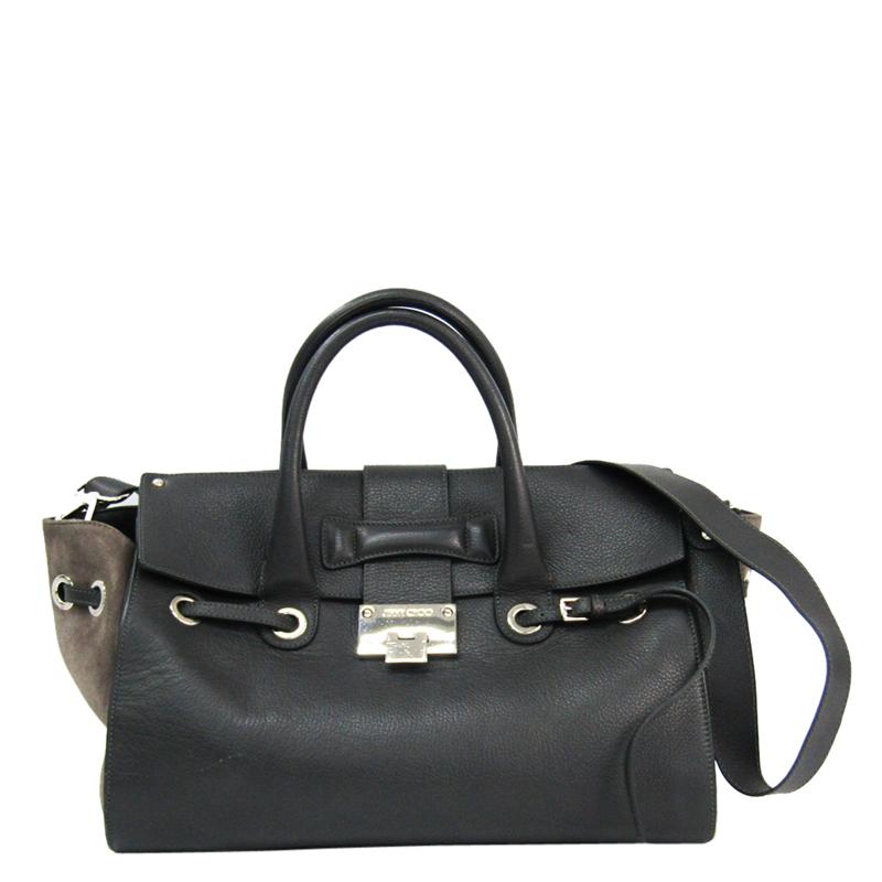 Jimmy Choo Grey/light Grey Leather Suede Shoulder Bag