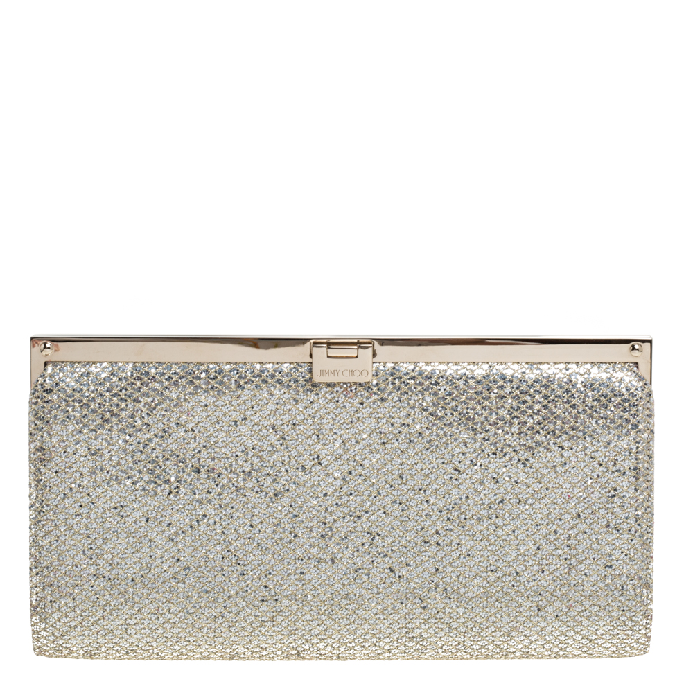 Pre-owned Jimmy Choo Metallic Gold Lace And Glitter Camille Clutch