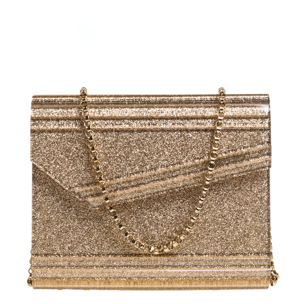 Pre-owned Jimmy Choo Gold Glitter Acrylic Candy Chain Clutch