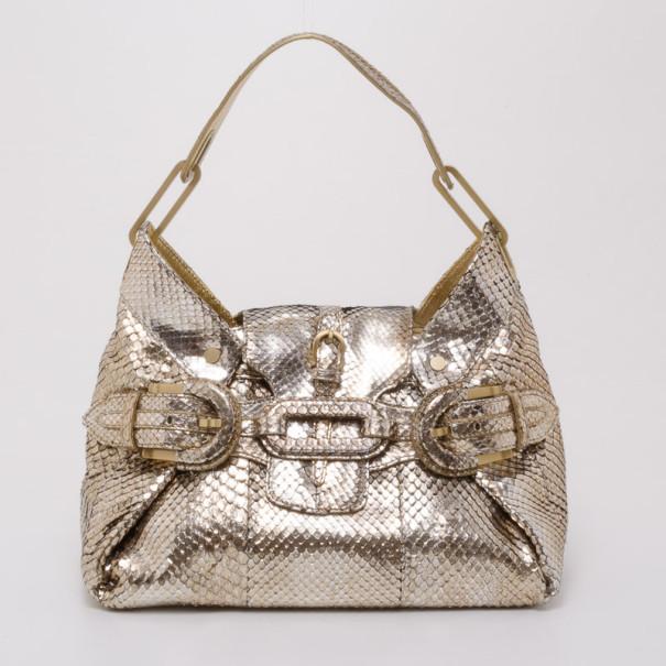 301cc91e9d8 Jimmy Choo Gold Python Tulita Bag