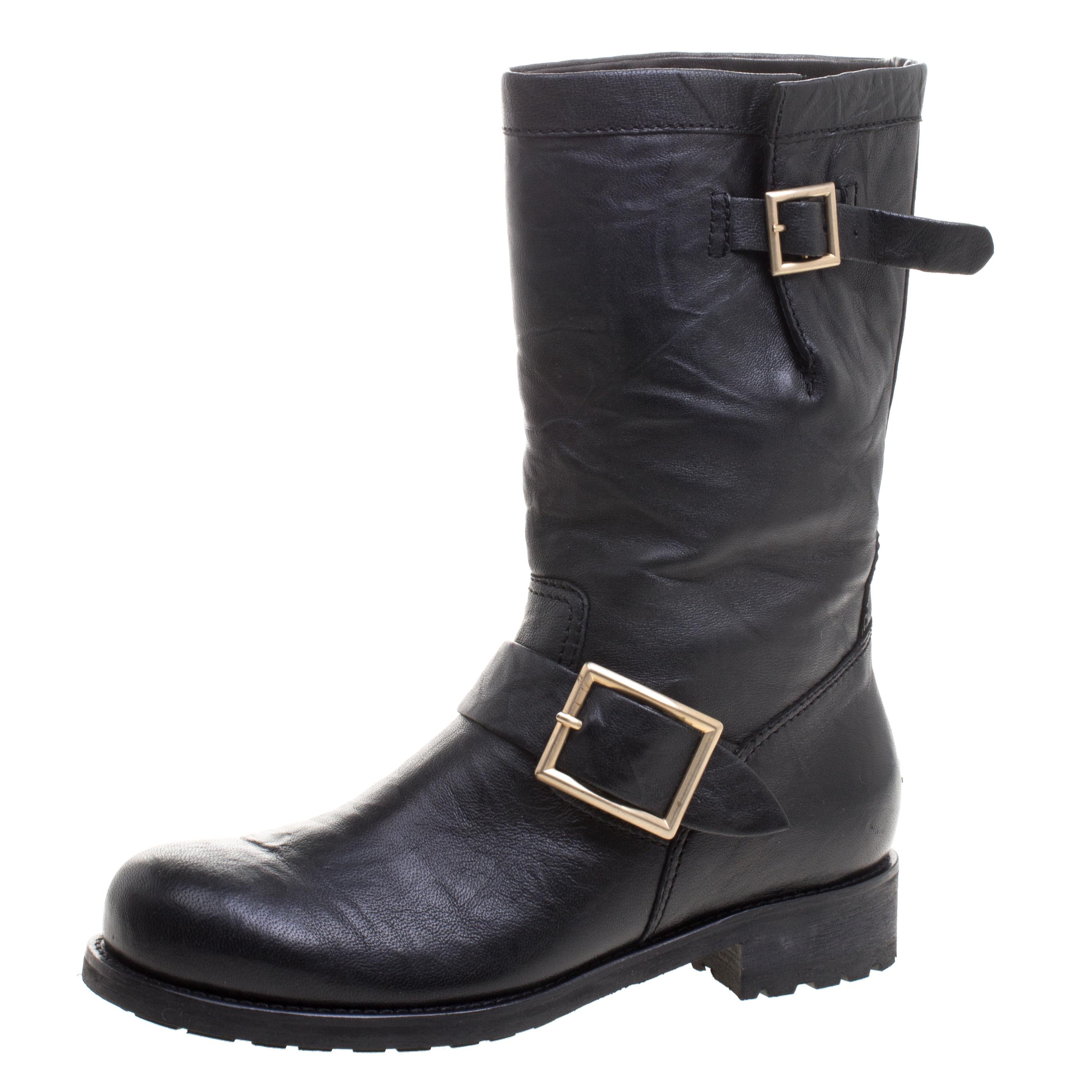 db8f395b770 Jimmy Choo Black Leather Biker Boots Size 36
