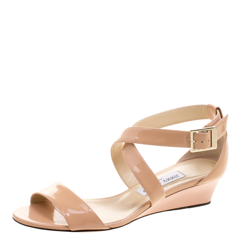 e819f4fd4396 ... Jimmy Choo Beige Patent Leather Chiara Wedge Sandals Size 38. nextprev.  prevnext
