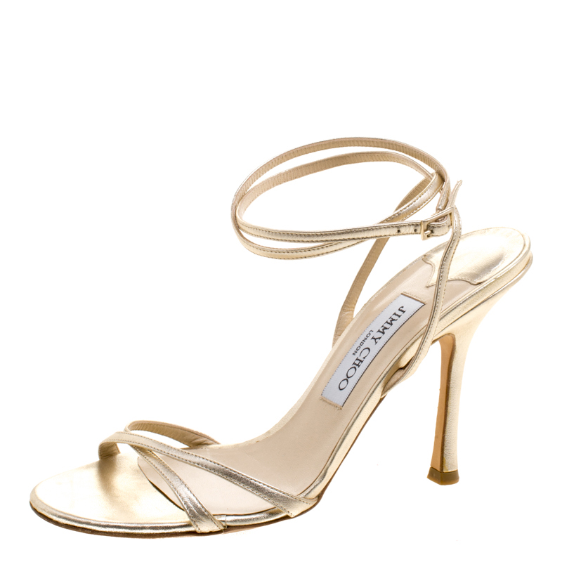 42d0db6b9bf1 Buy Jimmy Choo Metallic Gold Leather Suave Ankle Strap Sandals Size 38.5  118398 at best price