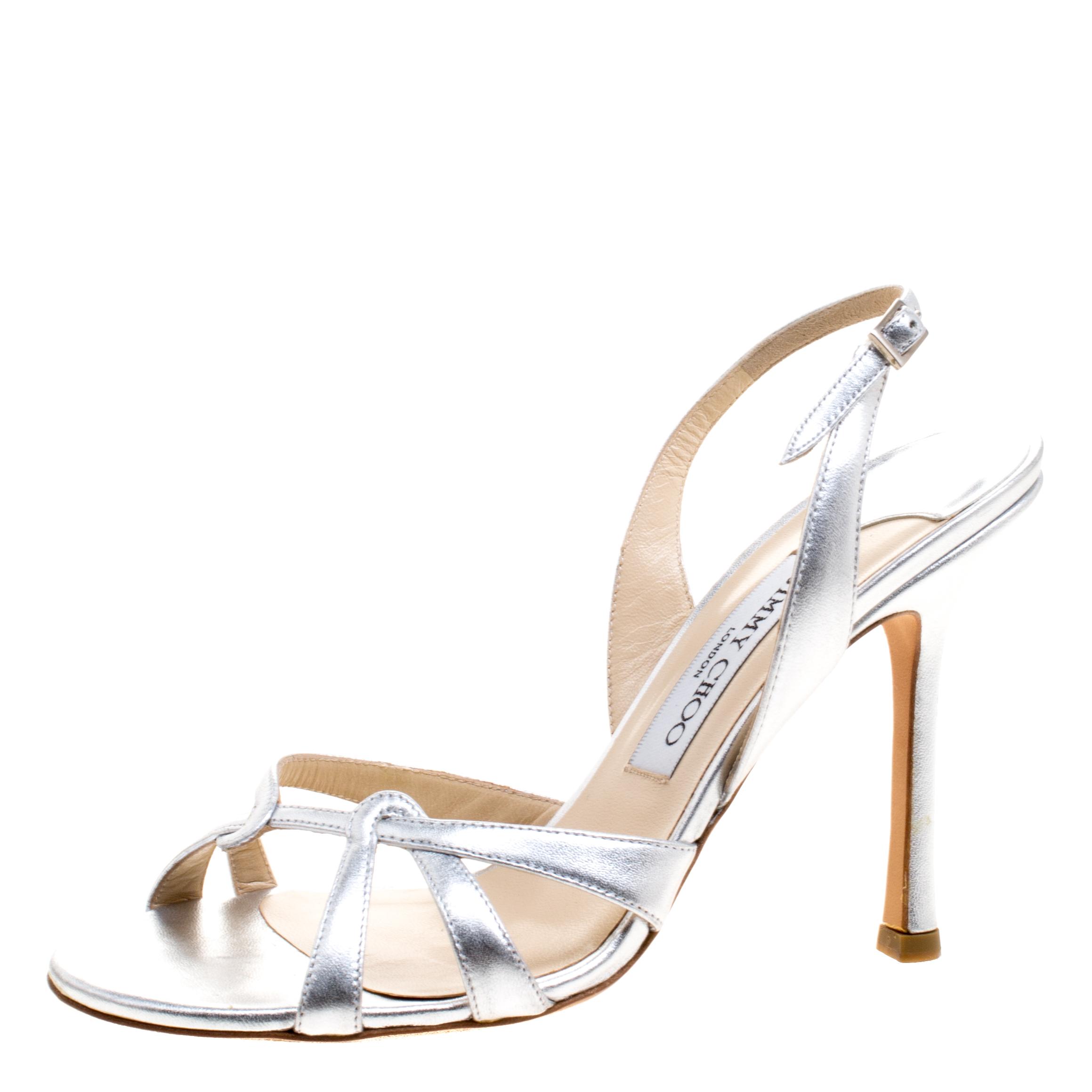 2628d15cba266 Jimmy Choo Metallic Silver Leather Slingback Open Toe Sandals Size 38