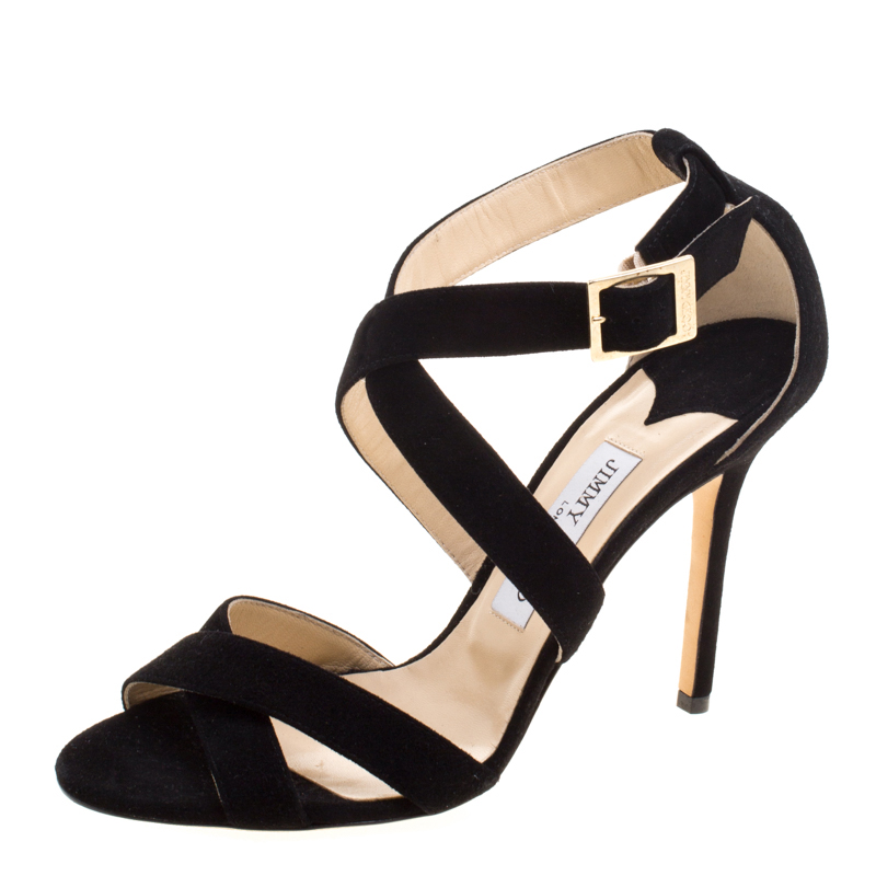36780374595e Buy Jimmy Choo Black Suede Louise Crisscross Sandals Size 39 119485 at best  price