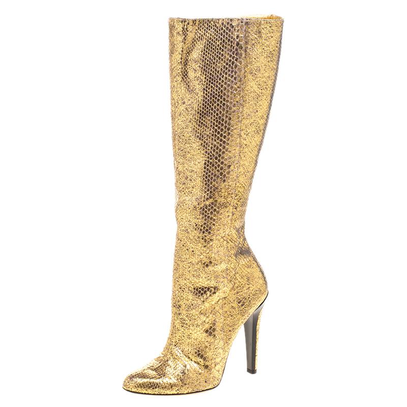 0a1b7517e8 ... Jimmy Choo Metallic Gold Snakeskin Knee High Boots Size 39.5. nextprev.  prevnext