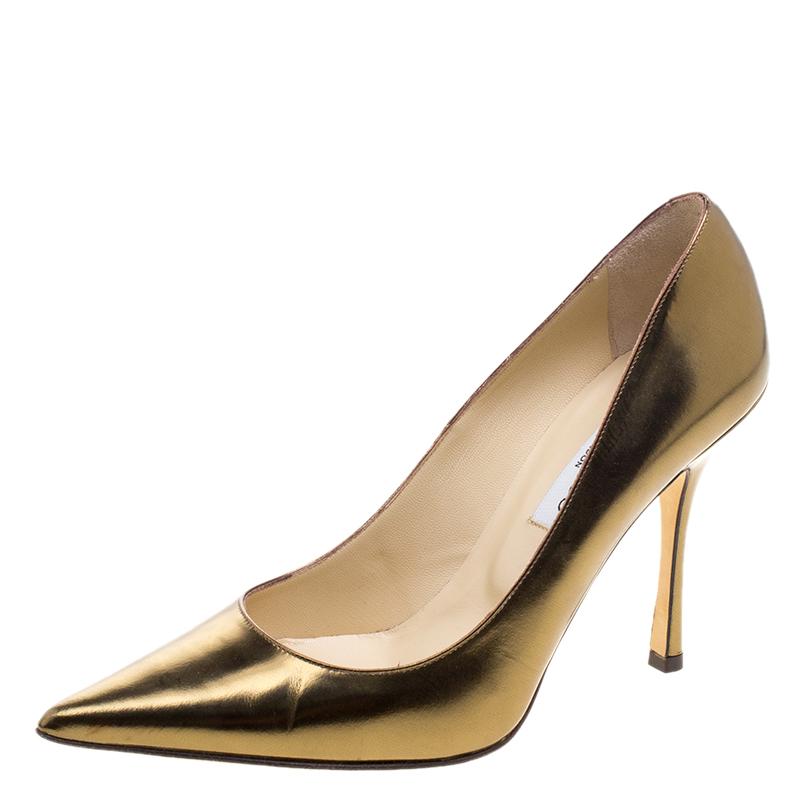 a55ba35355a3 ... Jimmy Choo Metallic Gold Patent Leather Anouk Pumps Size 37.5.  nextprev. prevnext