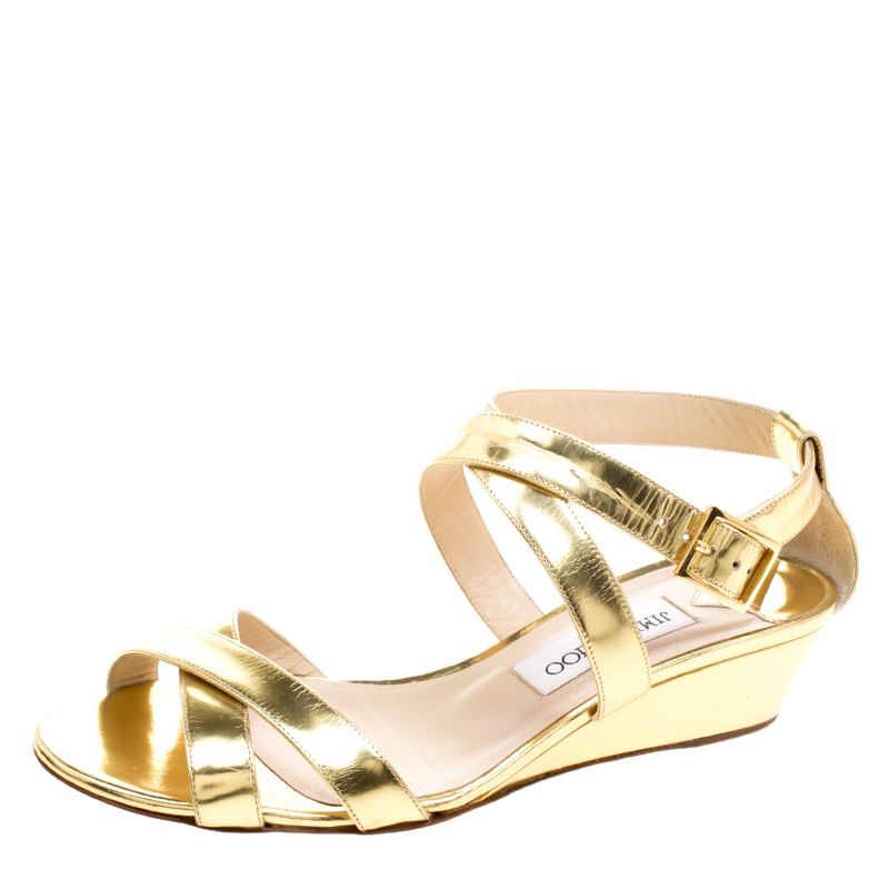 c1dbe6b4c18 ... Jimmy Choo Gold Patent Leather Connor Wedge Sandals Size 39. nextprev.  prevnext