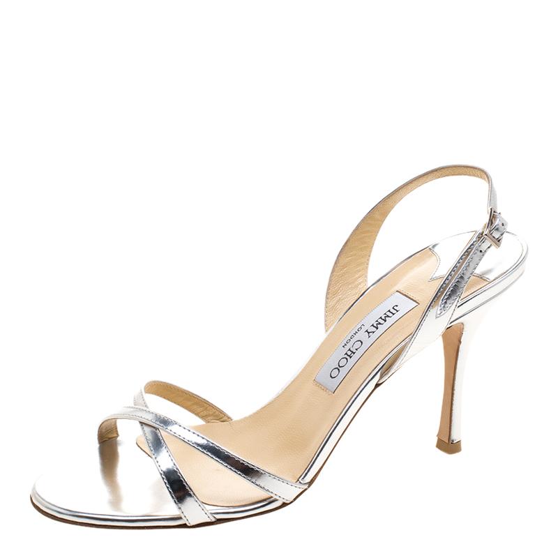 d703673ef3 ... Jimmy Choo Metallic Silver Leather India Slingback Sandals Size 39.  nextprev. prevnext