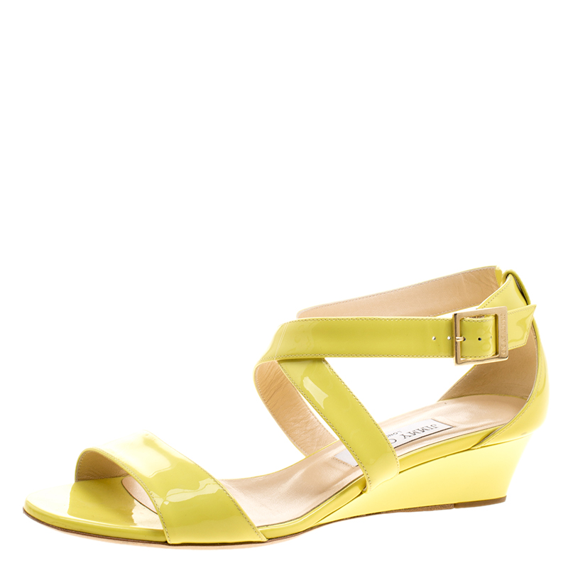 802dbe6c644d ... Jimmy Choo Yellow Patent Leather Chiara Ankle Strap Wedge Sandals Size  39. nextprev. prevnext