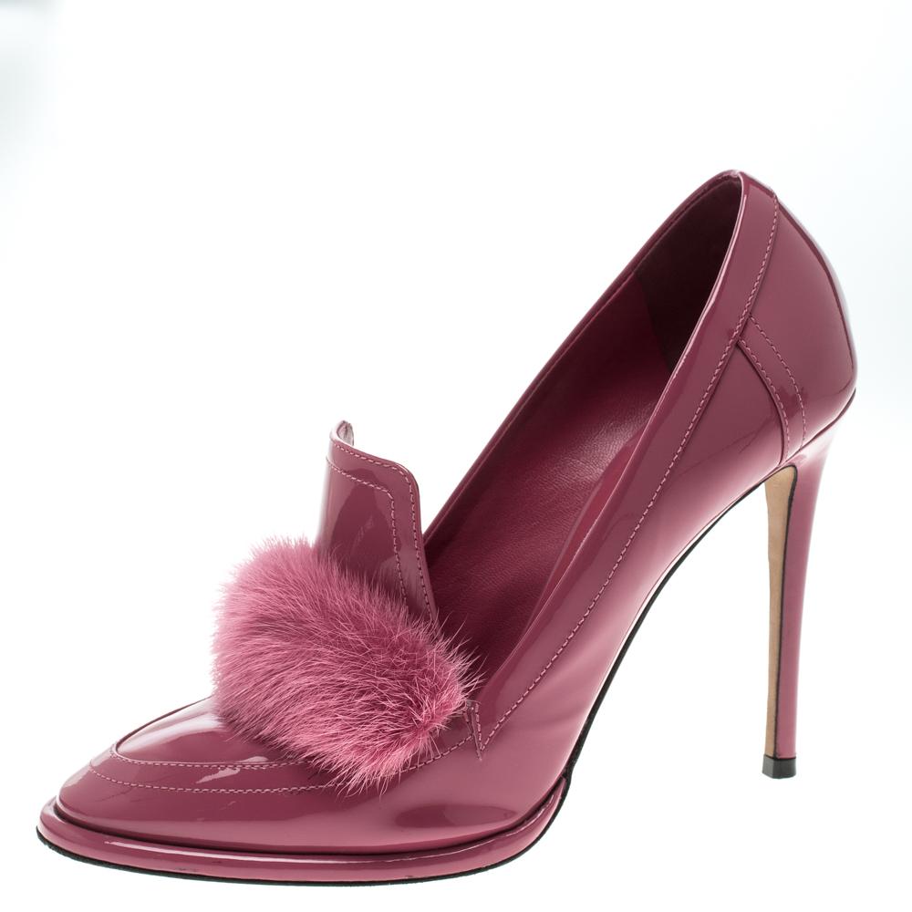 a855b3b112c Buy Jimmy Choo Pink Patent Leather Mink Fur Trim Lyza Loafer Pumps ...