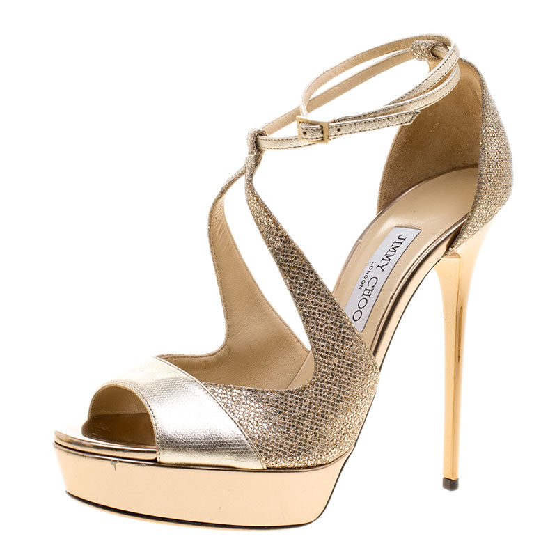 Leather Lamè Valdia Jimmy And Strap Size Ankle Metallic Fabric Choo Sandals 40 Beige Platform tQCxrshd