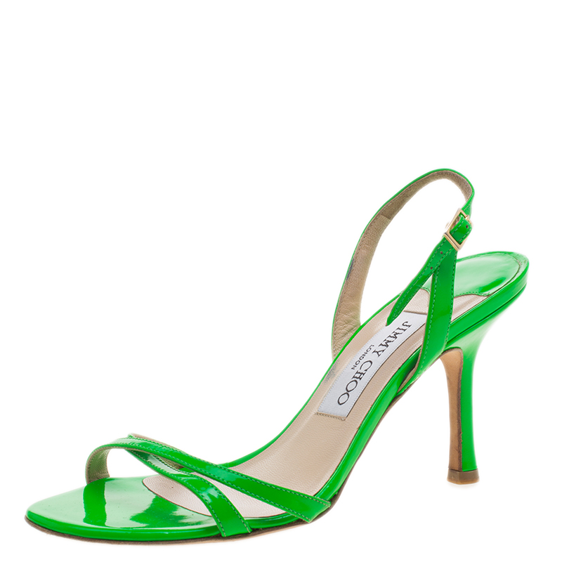 b8a3a1c9c910 Buy Jimmy Choo Neon Green Leather Slingback Sandals Size 36 125914 at best  price