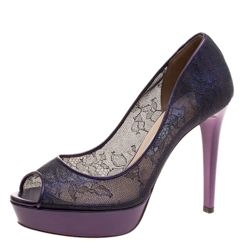 08ac86dc6a3f ... Jimmy Choo Metallic Purple Lace Dahlia Peep Toe Platform Pumps Size 38.  nextprev. prevnext