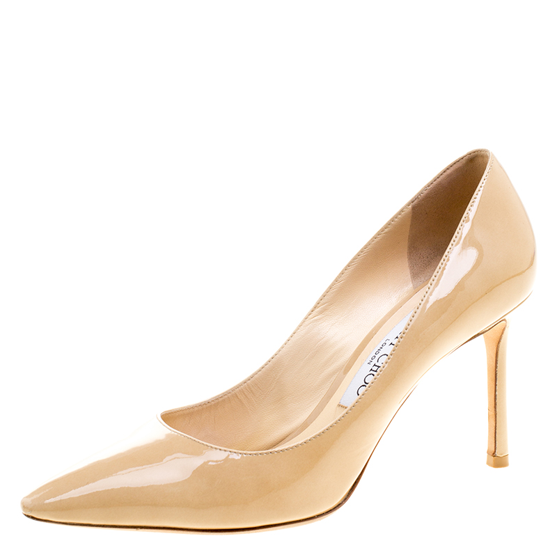 6b9abdc8f215 Buy Jimmy Choo Beige Patent Leather Anouk Pointed Toe Pumps Size ...