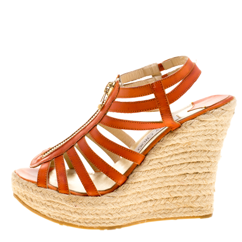 Купить со скидкой Jimmy Choo Orange Leather Palermo Wedge Sandals Size 38.5