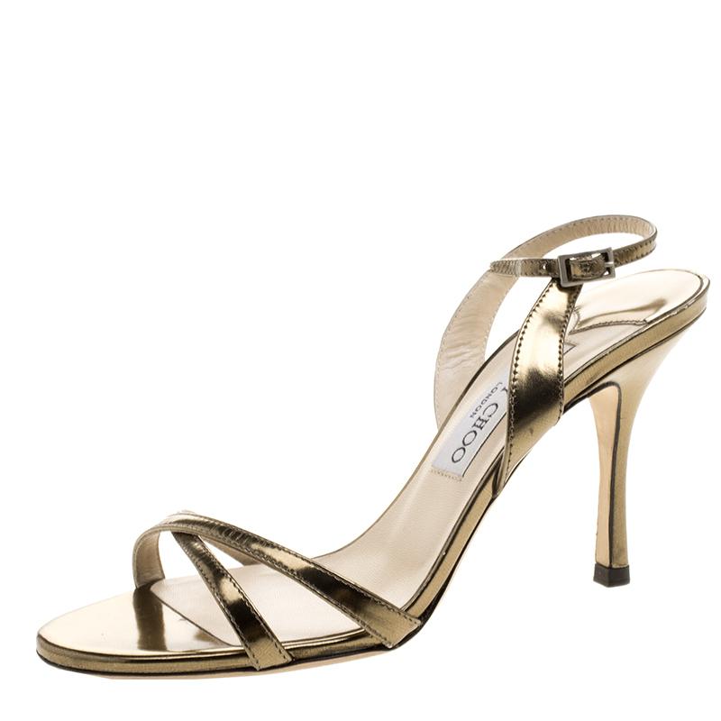 8faabfcfba ... Jimmy Choo Metallic Bronze Leather India Strappy Slingback Sandals Size  37. nextprev. prevnext