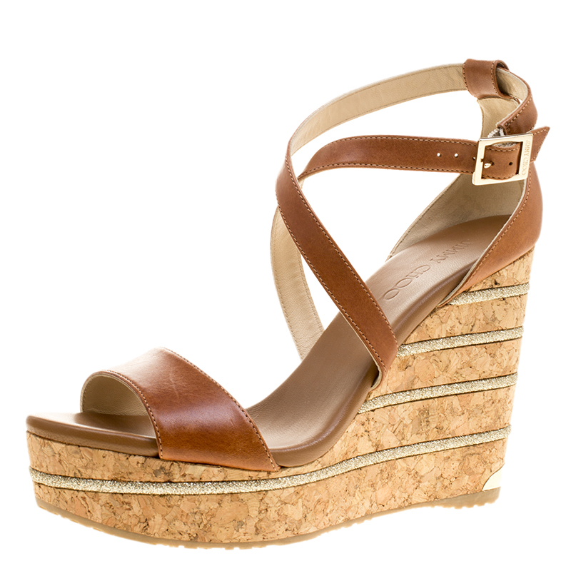 2820cf5e263 ... Jimmy Choo Brown Leather Portia Cork Wedge Sandals Size 41. nextprev.  prevnext