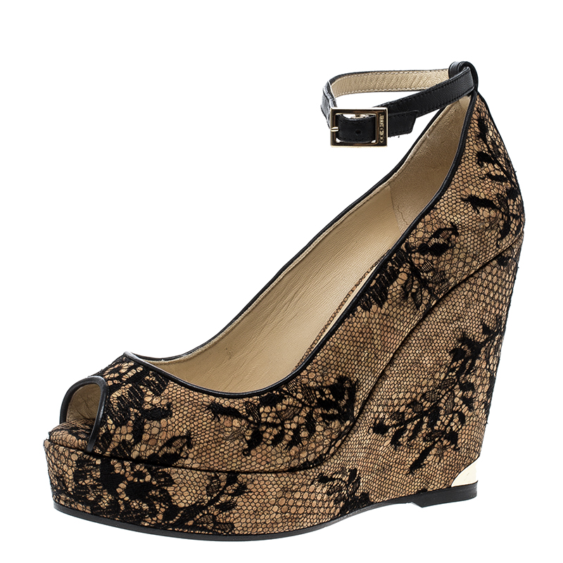 5ce28094c1 ... Jimmy Choo Beige Cork and Lace Pacific Peep Toe Ankle Strap Wedge Pumps  Size 36. nextprev. prevnext