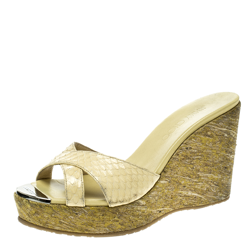 e10f2bd57ca4 Buy Jimmy Choo Yellow Python Leather Perfume Cork Wedge Slides Size ...