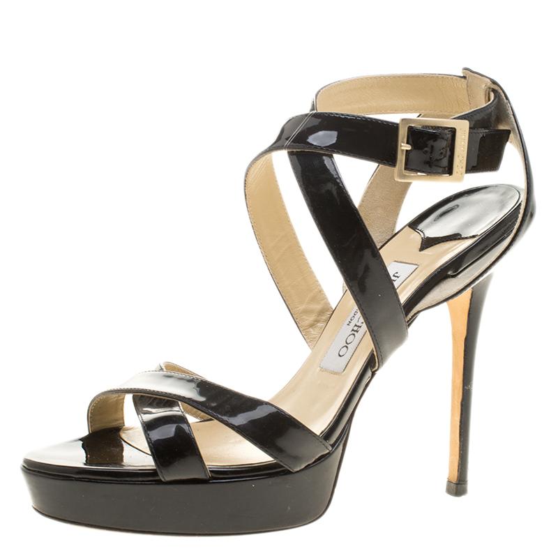 77ec9e45311 Buy Jimmy Choo Black Patent Leather Vamp Platform Sandals Size 39 ...