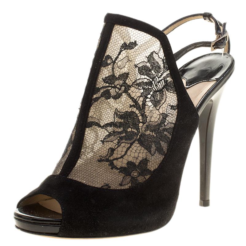 0c9e55dd51935 ... Black Lace Maylen Peep Toe Ankle Strap Sandals Size 37. nextprev.  prevnext