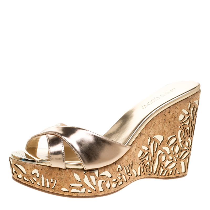 c1209770056a Buy Jimmy Choo Metallic Gold Leather Prova Laser Cut Cork Wedge Sandals  Size 40 140521 at best price