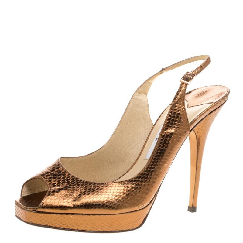 da47ac1f82a2 Buy Jimmy Choo Metallic Bronze Embossed Snakeskin Peep Toe Platform ...