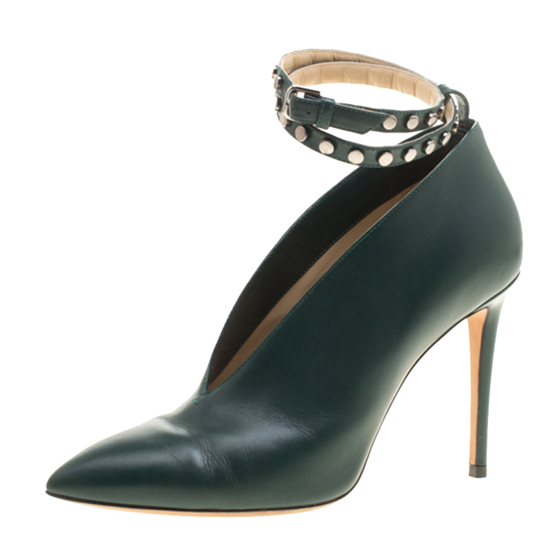 52e4ec31ff11 Buy Jimmy Choo Bottle Green Leather Lark Ankle Wrap Pointed Toe Booties  Size 38 143508 at best price