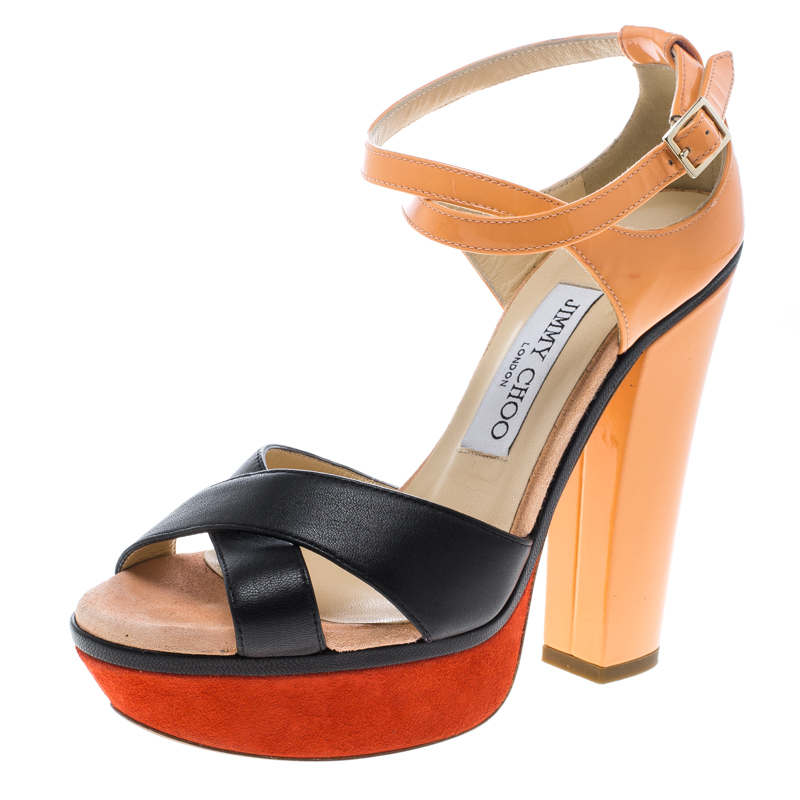 Купить со скидкой Jimmy Choo Tricolor Leather Cross Strap Platform Block Heel Sandals Size 36
