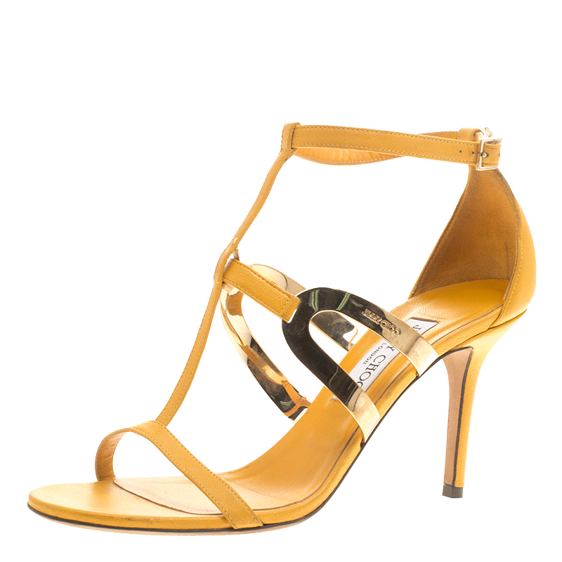 2062b298c9e6 Buy Jimmy Choo Yellow Leather T Strap Sandals Size 39.5 145910 at best  price